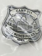 Collectible Metal Pin Back Des Moines Police Camp Iowa Capitiol Logo Badge Shape