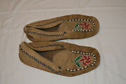 Brain Tanned Beaded Plains Indian Moccasins - Native American Handmade