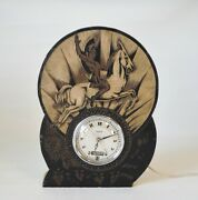 Antique 30and039s Art Deco Hammond Bichronous Clock Greek Warrior Horse Made In Usa