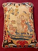 Superb 1850andrsquos Victorian Needlepoint Petit Point Large Pillow Down Feather