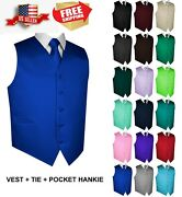 Menand039s Solid Satin Tuxedo Vest Tie And Hankie. Formal Dress Wedding Prom