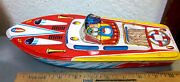 Vintage 1960s Large 11.5 Lithographed Tin Toy Speed Boat Made In Japan New
