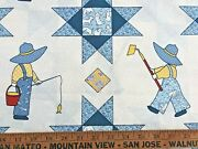 Cotton Quilt Fabric 1930s Prints Sunbonnet Sue And Overall Bill By 1/2 Yard