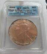 ✰2005 Dramatic Monster Toning 1 Oz American Silver Eagle 1 Ms70 Graded Perfect✰