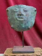 Very Rare And Nice Copper Mummy Bundel Mask With Human Face Vicus Culture Peru