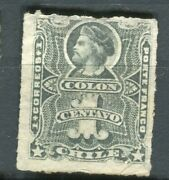 Chile 1877 Early Classic Columbus Issue Fine Mint Hinged Shade Of 1c.