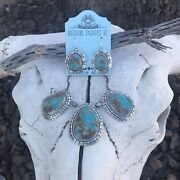 Navajo Pilot Mountain Turquoise Sterling Silver Necklace Set Signed And Stamped