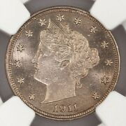 1911 Liberty Head 5c Ngc Certified Ms65 Mint State Graded 65 Minted Nickel Coin