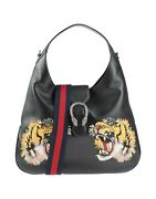 New Dionysus Embroidered Maxi Black Leather And Gg Leather Hobo Bag