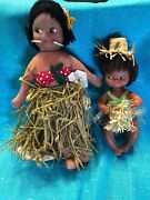 Lot Of 2 Hawaiian Hula Girl Doll Cloth 1940and039s W/grass Skirt And Stand And 11 Doll