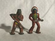 Barclay Pod Foot Native American Indians Lead Figures Manoil Wild West