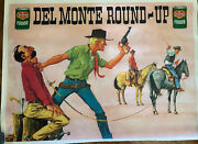 Del Monte Round Up Foods 1966 Vintage Advertising Poster Cowboys Very Rare
