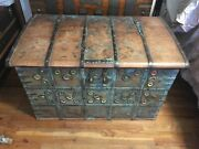 Antique Rajasthani Iron Bound Dowry Box Strong Bible Armada Safe Trunk Chest