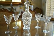Old Gothic Mark Waterford Crystal Tyrone Decanter And 4 Wine Goblets Retired