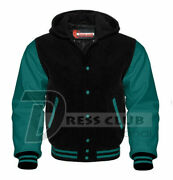 American Men's Letterman Jackets Wool And Real Leather Varsity Outerwear Hoodies