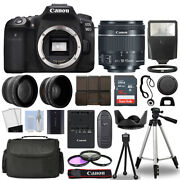 Canon Eos 90d Dslr Camera Body + 3 Lens Kit 18-55mm Is Stm + 16gb + Flash And More