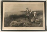 Large Anitique Engraving By G H Boughton. Dated 1874 And Titled Pilgrim Exiles