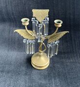 Candelabra Art Deco Winged Dual Holder Brass With Glass Prisms
