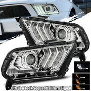 Fits 10-12 Ford Mustang 6th Gen Look Chrome Drl/signal Projector Headlights