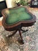 Antique Wood Wooden Furniture Small Table Green Topped Theresa May Donation B