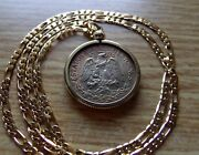 Gold Desert Toned 1942 Mexico 50c Silver Pendant On A 24 14k Gold Filled Chain.