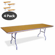 4 Rectangle Dining Table 8' Heavy Duty Banquet Wedding Party Wood Folding Table
