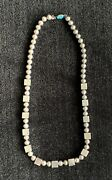 Native American Modern Saucer Bead Necklace Sterling Silver And Turquoise Clasp