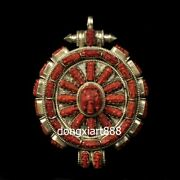 Tibet Pure Silver Inlay Coral Niche For A Statue Of The Buddha Ganesha Pendants