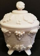Jeanette Shell Pink Milk Glass Mid Century Modern One Footed Candy Jar W/ Grapes