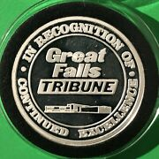 Great Falls Tribune Montana Collectible Coin 1 Troy Oz .999 Fine Silver Round