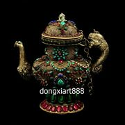 Tibet Pure Red Copper Silver Inlay Crystal Gemstone Wine Pot Water Bottle Teapot