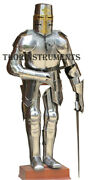 Medieval Knight Templar Armor Suit With Sword And Stand