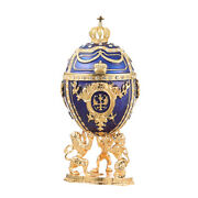 Decorative Faberge Egg Trinket Jewel Box Russian Emperorand039s Crown 5.9and039and039 15cm Blue
