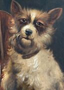Charles Dudley Signed Original Oil Painting Of A Dog And Violin 19th Century