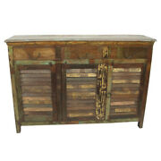 60 L Sideboard 3 Louver Doors Hand Crafted Recycled Wood Rustic One Of A Kind