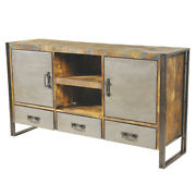 65 L Media Sideboard Recycled Solid Wood Industrial Metal Fronts And Frame