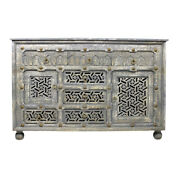 58 L Sideboard Hand Finished Grey Carved Solid Mango Wood With Brass Accents