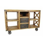 56 L Sideboard Hand Crafted Mango Wood Industrial Metal Wheels And Accents
