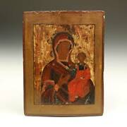 Russian Icon Madonna And Child Orthodox Christianity Painted Wood Panel Russia