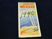 Vtg Official April 15 1940 Michigan Highway State Road Map Summer Ed Near Mint