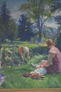 Impressionist Painting Of Woman By Lakeside By French-american William Malherbe
