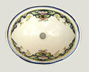 087 Large Bathroom Sink 21x17 Mexican Ceramic Hand Paint Drop In Undermount