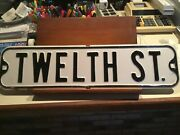 Vintage 1930andrsquos Steel Embossed Street Signsall Original 24andrdquo X 6andrdquo Black On White
