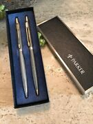 Parker 75 Classic Sterling Silver Ballpoint Pen And Pencil Set In Box