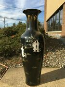 Collectibles Oriental Black Lacquer Porcelain Vase With Mother Of Pearl