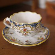 """Antique Quimper Rouen French Faience Pottery """"loches"""" Floral Tea Cup W/ Saucer"""