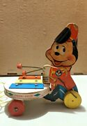 Fisher Price Mickey Mouse Zilo 714 Sears Vintage Pull Toy, 1963, Rare