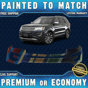 New Painted To Match Front Bumper Cover For 2016 2017 Ford Explorer W/ Park Ast