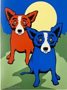 Blue Dog Good And Bad Original Silkscreen Signed In Paint Pen By George Rodrigue