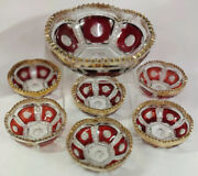 Antique Ruby Stain Red Depression Glass Master Berry Bowl 7 Piece Set Vintage
